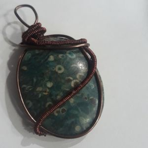 Wire Wrap Jasper Necklace | Crystal Necklace